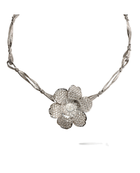 Carrera y Carrera 18kt White Gold Gardenias Collection Necklace DA11573 021301