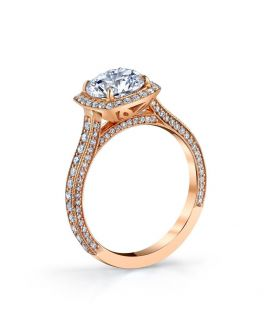 18k Rose Gold Pave Diamond Engagement Setting .95 c.t.w.