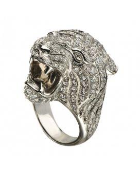 Carrera y Carrera Bestario Collection 18kt White Gold Diamond Mini Tigre Ring with Smokey Quartz