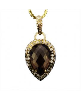 Alicia's Jewelers 18kt Yellow Gold Brown, Black, Yellow, and White Diamond Pear Shaped Smokey Topaz Pendant (1.48 c.t.w.