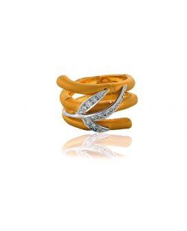 18kt Two Tone Gold Carrera y Carrera Diamond Bamboo Ring (1.00 ct. tw.)