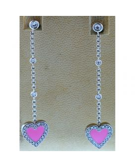 18kt White Gold Diamond Heart Earrings (.73 ct. tw.)