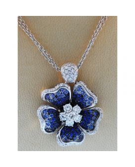 18kt White Gold Diamond and Sapphire Flower Leo Pizzo Pendant (2.31 ct. tw.)