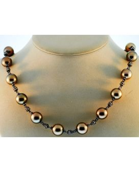 18kt Black Gold Diamond and Chocolate Pearl Necklace