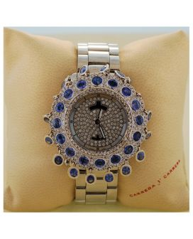 Stainless Steel, 18kt White Gold, Diamond and Sapphire Meyers Lady Diamond Watch