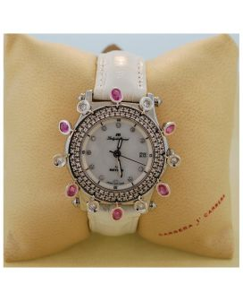 Stainless Steel, 18kt White Gold, Diamond and Pink Sapphires Meyers Lady Diamond Watch