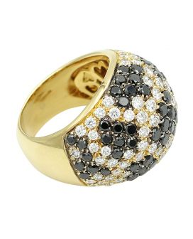 18kt Gold Leo Pizzo Black and White Diamond Ring 4.33 c.t.w.