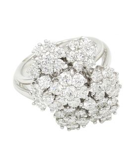 18kt White Gold Leo Pizzo Diamond Cluster Ring 3.11 c.t.w.