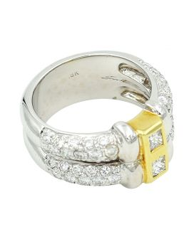 18kt Two Tone Gold Diamond Ring 1.59 C.T.W