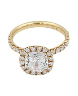18kt C Gonshor Rose Gold Diamond Halo Engagement Setting .68 c.t.w.