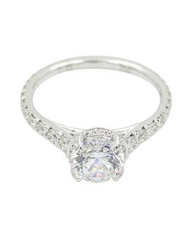 18kt White Gold C Gonshor Mini Halo Diamond Engagement Setting .72 c.t.w.