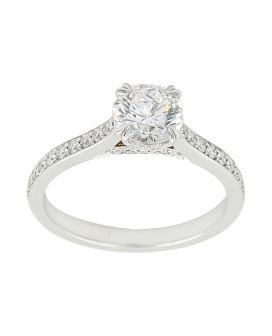 18kt White Gold  Pave Engagement Setting 0.35 C.T.W