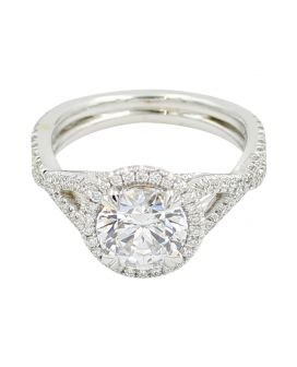 18kt White Gold Halo Criss Cross Engagement Ring  .61 c.t.w.