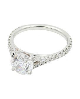 18kt White Gold Diamond Split Shank Engagement Ring .45 c.t.w.