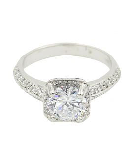 Gregg Ruth 18Kt White Gold Diamond Halo Setting .43 C.T.W.