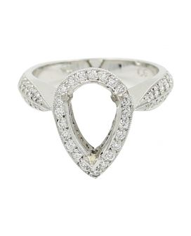 18kt White Gold Milgrain Pear Diamond Halo Setting 0.70 C.T.W