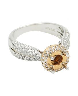 18Kt Two Tone Gold Milgrain Diamond Sidestone Setting .87 C.T.W.