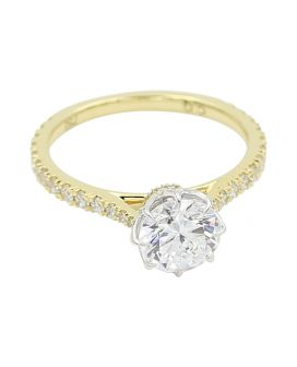 18kt Two Tone Gold Diamond Engagement Setting .42 c.t.w.