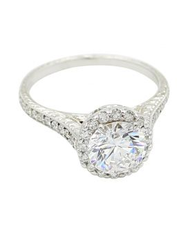 18kt White Gold Diamond Halo Milgrain Filigree Engagement Setting  0.50 C.T.W