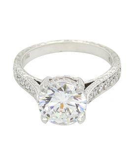 18Kt White Gold Milgrain Filigree Diamond Sidestone Setting 0.38 C.T.W.
