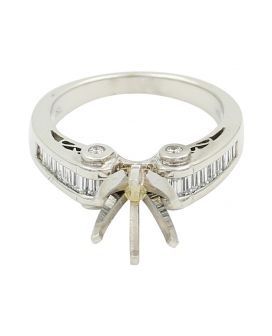 Alicia's Jewelers Platinum Round and Baguette Diamond Sidestone Setting .60 C.T.W