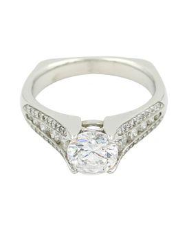 Ritani Platinum Diamond Sidestone Setting .55 C.T.W