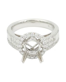 18k White Gold Round and Princess Cut Diamond Engagement Setting .82 c.t.w.