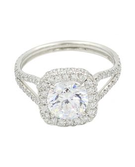 18kt White Gold Diamond Cushion Halo Engagement Setting .56 c.t.w.
