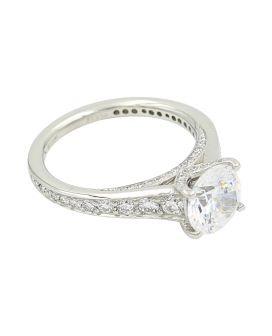Platinum Diamond Sidestone Setting 0.71 C.T.W.