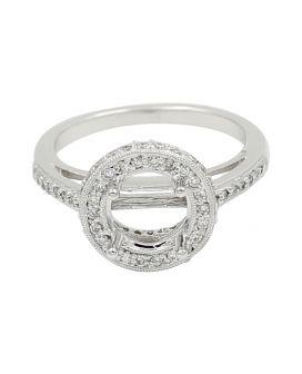 Alicia's Jewelers 18kt White Gold Milgrain Diamond Sidestone Setting 0.46 C.T.W