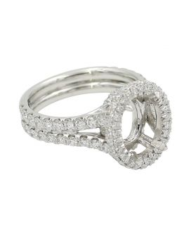 18Kt White Gold Diamond Oval Halo Setting 1.30 C.T.W.