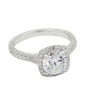 18Kt White Gold Diamond Halo Engagement Setting .65 c.t.w.