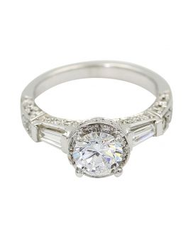18kt White Gold Gregg Ruth Diamond Engagement Setting .96 c.t.w.
