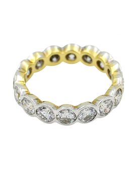 18kt Two Tone Bezel Set Eternity Ring 3.32 c.t.w.