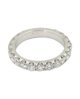 18Kt White Gold Diamond Eternity Wedding Band 2.43 C.T.W.