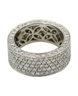 Platinum Diamond Eternity Wedding Band 5.00 C.T.W.