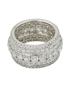 18kt White Gold Mixed Diamond Wide Band 7.51 c.t.w.