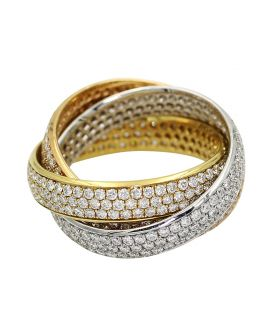 Leo Pizzo 18kt Tri Color Gold Diamond Triple Set Ring 3.58 c.t.w.