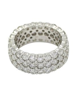 Crivelli 18Kt White Gold Three Row Diamond Eternity Wedding Band 5.61 C.T.W.
