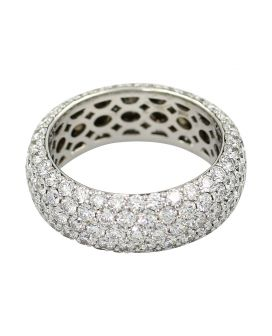 18Kt White Gold Diamond Eternity Wedding Band 4.28 C.T.W.