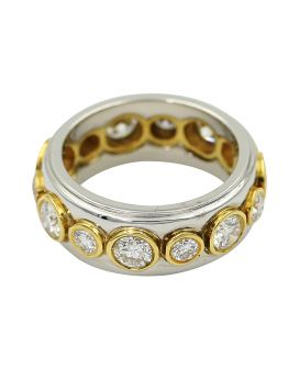 Platinum And 18Kt Yellow Gold Diamond Eternity Wedding Band 2.22 C.T.W.