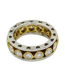 Platinum And 18Kt Yellow Gold Diamond Eternity Wedding Band 1.80 C.T.W.