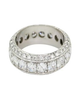 18Kt White Gold Milgrain Round And Oval Diamond Eternity Wedding Band 4.37 C.T.W.