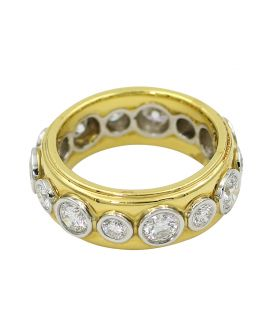 Platinum And 18Kt Yellow Gold Diamond Eternity Wedding Band 2.30 C.T.W.