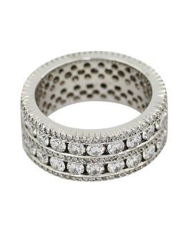 18Kt White Gold Milgrain Diamond Wedding Band 3.53 C.T.W.