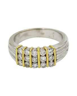 Platinum And 18Kt Yellow Gold Diamond Five Column Wedding Band .86 C.T.W.