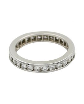 Platinum Channel Set Eternity Band 1.08 C.T.W