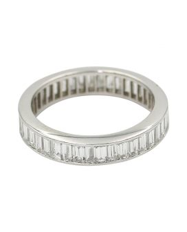 Platinum Baguette Diamond Eternity Wedding Band 3.40 C.T.W.