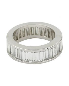 18Kt White Gold Baguette Diamond Eternity Wedding Band 4.00 C.T.W.