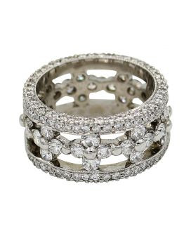 18kt White Gold Diamond Wide Band 3.39 c.t.w.